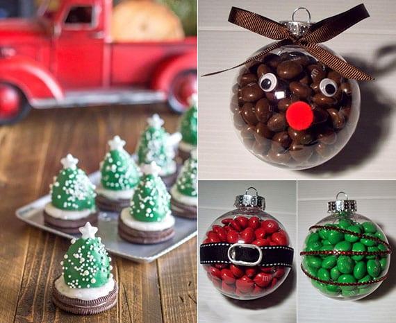 diy weihnachtsbaum mit oreo und diy weihnachtsbaumkugel mit bonbons als coole dekoidee für winter