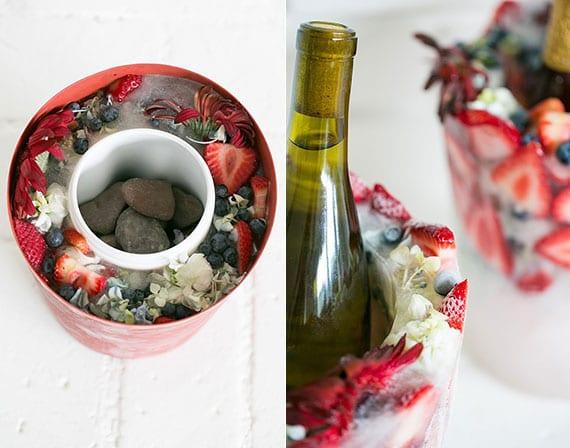 interessante deko für tisch mit selbstgemachtem flaschenkühler
