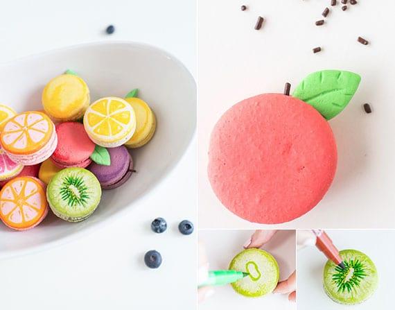die französischen Baisergebäcke Macarons als Früchte dekorieren und servieren