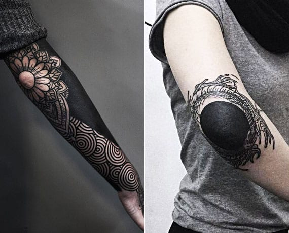 kreative schwarze tattoos ellbogen als idee für weibliche blackout tattoos arm