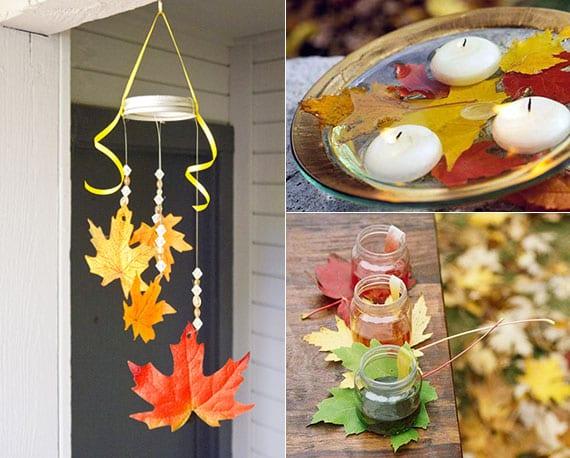 einfache und coole bastelideen mit herbstblättern für eine bunte,natürliche DIY Herbstdeko