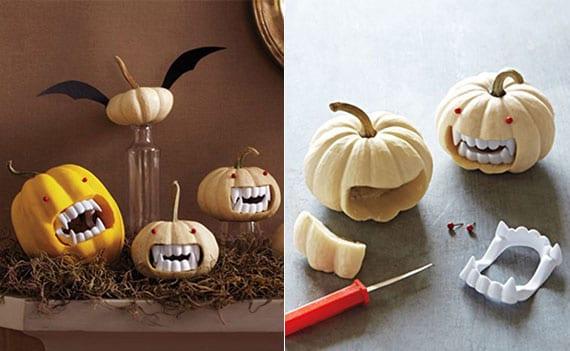 kreatives basteln zu halloween von kleinen kürbis-vampiren