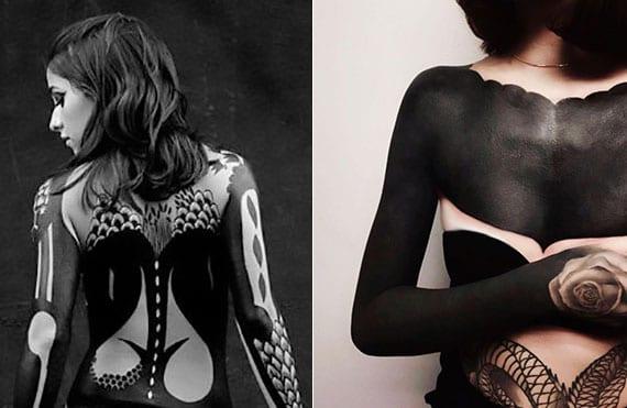 coole frauen-ganzkörper tattoo ideen im schwarz als blackout-Dékolleté-tattoo und rücken-tattoo