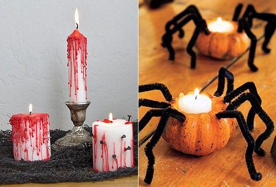 kreative dekoideen mit kerzen für halloween