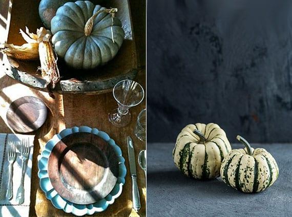 tisch attraktiv dekorieren im herbst mit kleinen und großen speisekürbissen