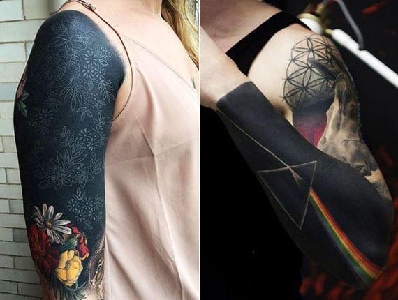 coole schwarze tattoos für arm mit farbigen blumen und buntem regenbogen-tattoo