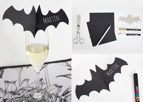 kreatives basteln mit papier und tolle party idee für halloween mit selbstgemachten platzkarten in form von fledermaus