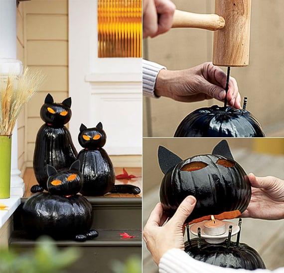 kreative dekoration mit kürbis-laternen in form von schwarzen katzen