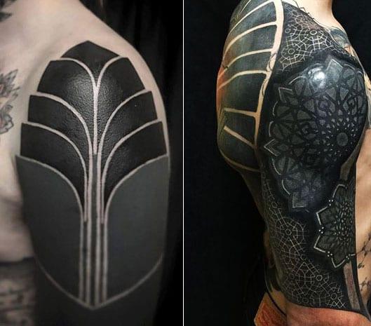 schwarze tattoos für schulter als blackout tattoo inspirationen für männer