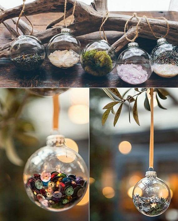 kreative dekoideen mit plastikkugeln, pailletten,moos, kristallen und sammen als rustikale tischdeko mit treibholz und festliche baumdeko im sommer