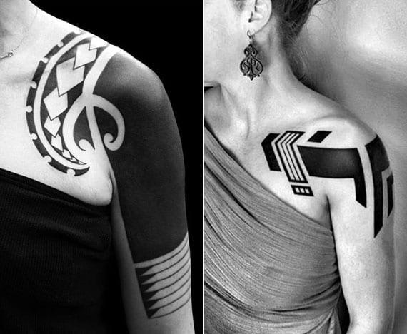 schwarze tattoos für frauen schulter tätowierung im tribal tattoo stil