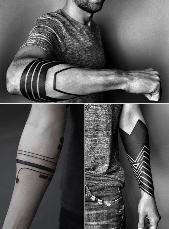 blackout tätowierungen unterarm als halbärmel, abstrakte liniendarstellung und kybernetisches tattoo
