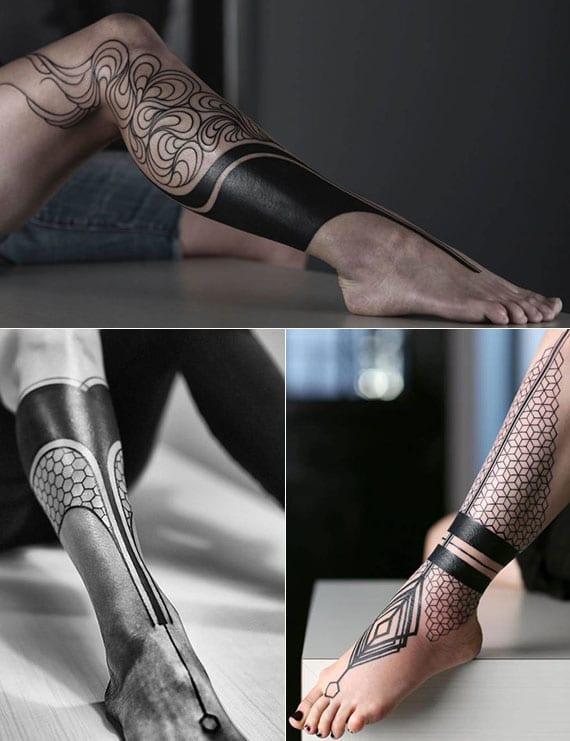 coole unterschenkel-tattoos in schwarz und geometriemuster für frauen
