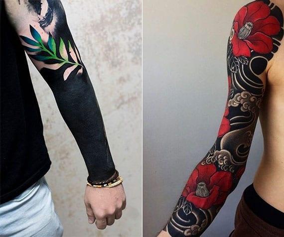 männer ärmel-tattoos in schwarz mit blumenmuster in farbe
