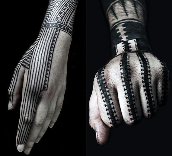 schwarze tattoos für hand mit dünnen linien und als Reißverschluss-Tattoo