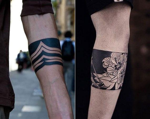 coole schwarze tattoos als inspiration für männlichen armband tätowierung unter ellbogen
