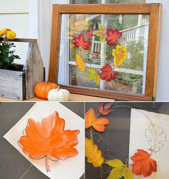 wunderschöne herbstdeko ideen für fenster und coole bastelidee für DIY herbstdeko mit bemalten blättern auf glas in holzrahmen