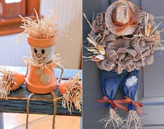 kreative und lustige herbstdeko selber machen mit stroh, rupfen, kleiderstücken und kleinen blumentöpfen