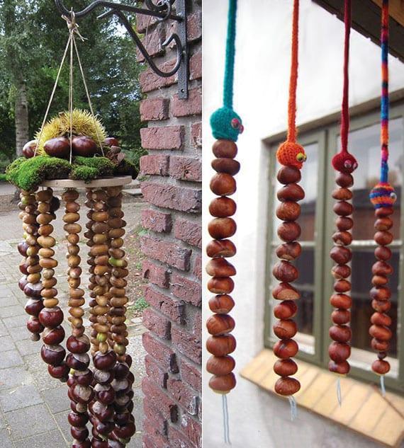 einfache und coole bastelidee für diy windspiele und hängedeko aus kastanien