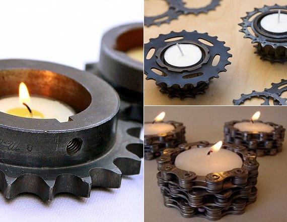 coole DIY teelichthalter aus alten auto- und fahrradteilen für originelle kerzendeko im industriellen stil