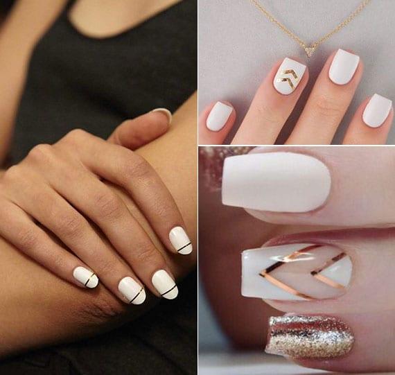 weißes nageldesign schlicht gestalten mit dünnen goldenen streifen-stickern für nägel