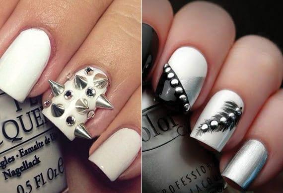 weiße nägel attraktiv dekorieren mit silbernen schmucksteinen