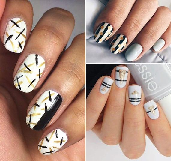 weiße nägel kreativ dekorieren mit gold und schwarz