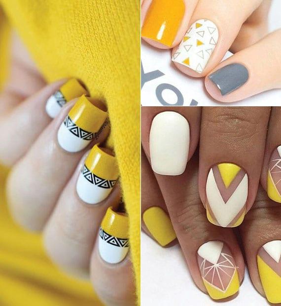 coole ideen für französische maniküre und originelle nagelgestaltung in gelb und weiß