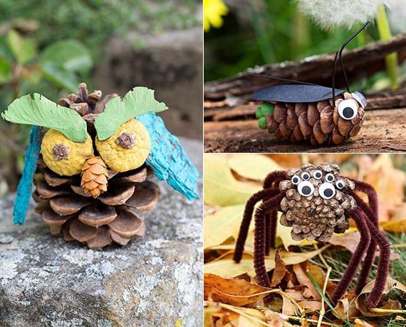 coole zapfen-tiere als originelle gartendeko basteln mit kindern im herbst