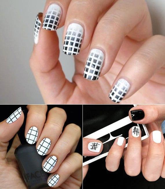 kreative nagelgestaltung mit schwarzem gitter-nagelmotiven auf weißer basis