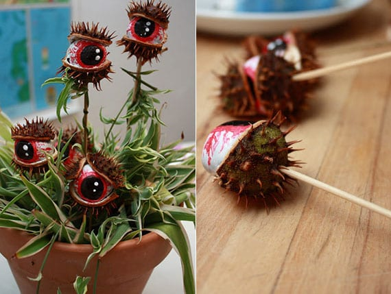 einfache und kreative bastelidee für DIY halloween-Augen aus kastanienschalen als coole Halloweendeko für topfpflanzen