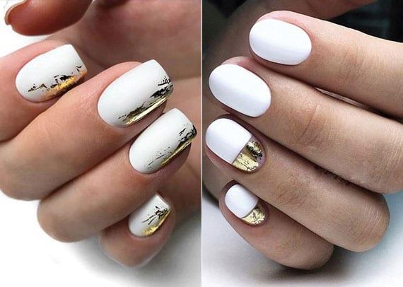 weißes nageldesign schlicht und effektvoll kombinieren mit gold