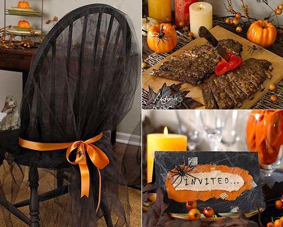 halloween tischdeko idee in schwarz und orange mit passenden spinnennetz-platzkarten, stuhlbezug und halloween-gerichte
