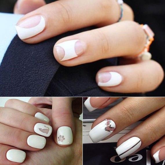 originelle nagelgestaltung und kreative maniküre mit nagellack weiß und transparent