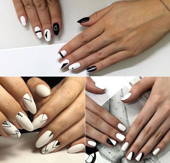 kreative ideen für kreative maniküre in weiß mit schwarzen geometrischen-motiven