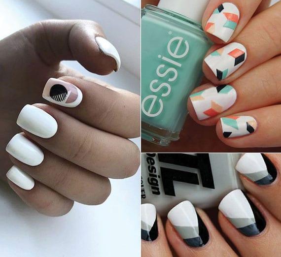 kreative maniküre mit weißen nägeln und geometrischen-motiven in verschiedenen farben