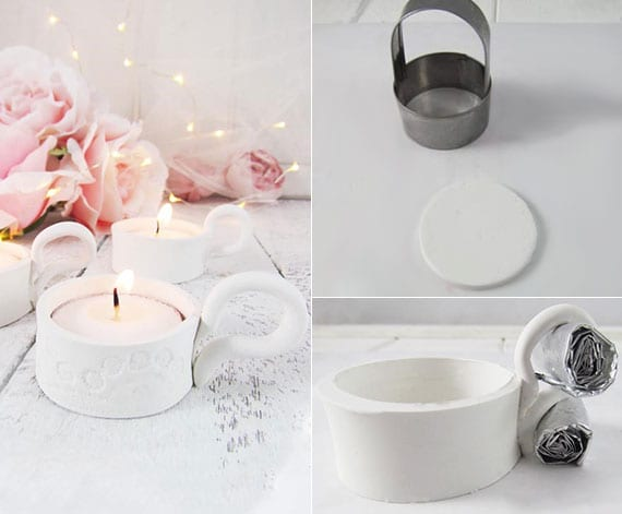 shaby chic dekoration mit kerzen, rosen und micro-lichterkette zu weihnachten