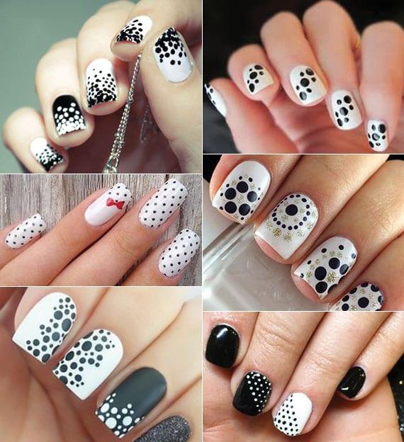 coole ideen für weiße maniküre mit schwarzen polka dot motiven