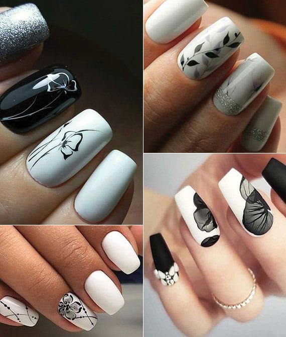 weisse nägel interessant gestalten mit schwarzen blumen und glitzer-nagellack silber