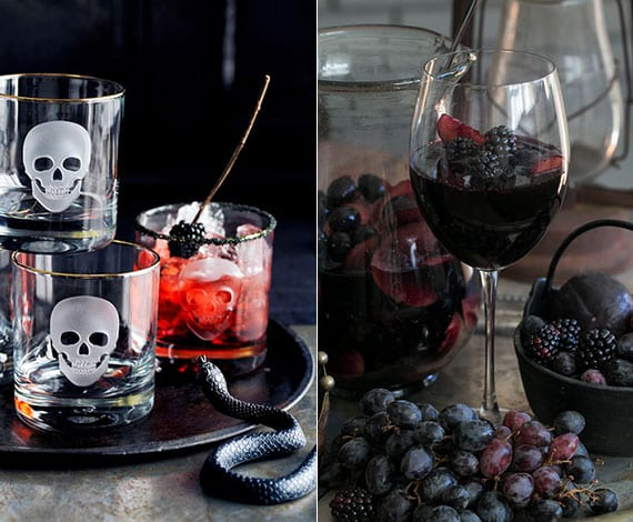 halloween tischdeko mit totenkof-gläsern und passenden halloween-getränken