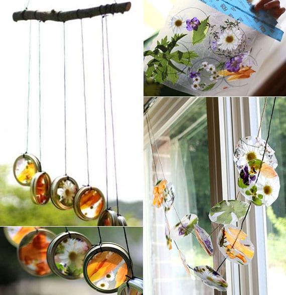 kreatives basteln mit blättern und blumen von origgineller fensterdeko mit natürlichem sonnenfänger und windspiel in einem