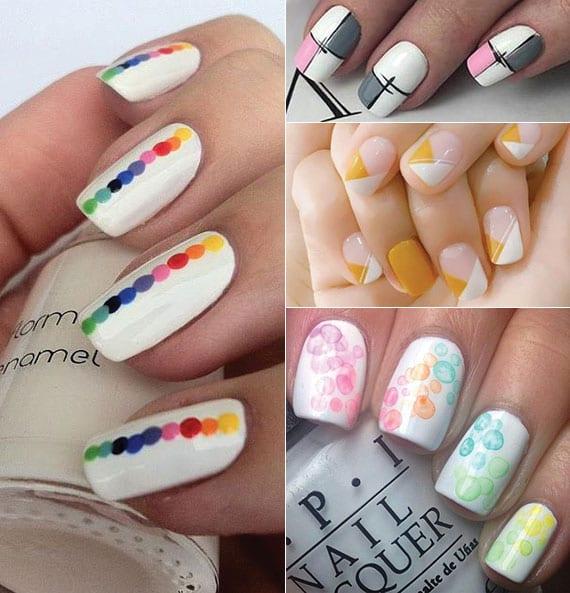 weiße nägel sommerlich gestalten mit bunten punkten und farbigen geometrischen motiven