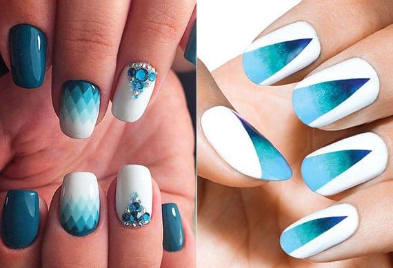 sommerliche maniküre in weiß und blau mit schmucksteinen-nageldeko und schattierung