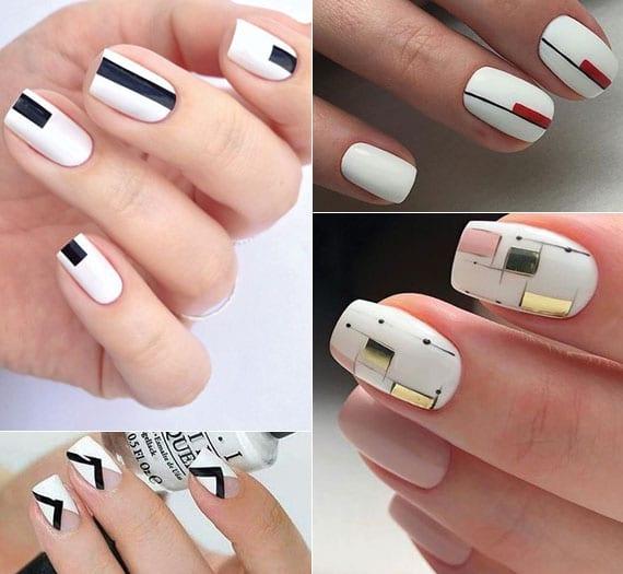 originelle ideen für weiße maniküre mit geometrischen motiven verschiedener farben