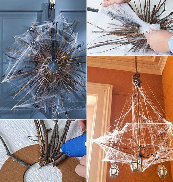 coole halloween bastelideen für DIY Türkranz und DIY Kronleuchter mit plastik spinnen und dekorativer spinnengewebe