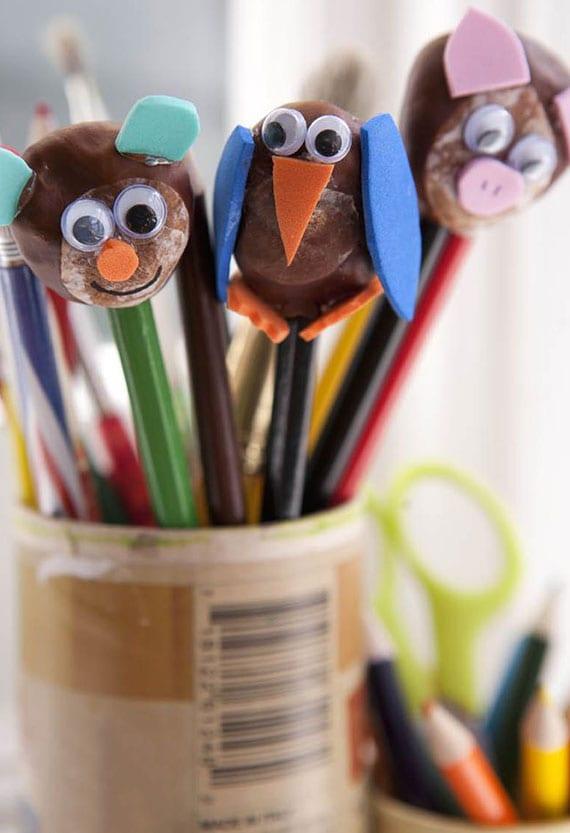 tolle Bleistifte-Tiere aus kastanien basteln mit kleinkindern