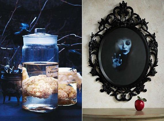 originelle Halloween dekoration mit DIY Blumenkohl-Gehirn im Glas und bastelidee für diy Spiegelbild als halloween wanddeko