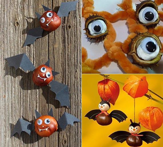 lustige fledermäuse und horror-augen zu halloween basteln mit kastanien