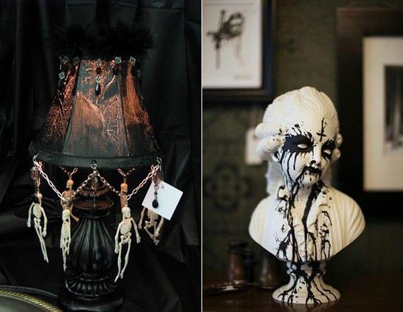 gipsfiguren und tischlampen in originelle halloween dekoration verwandeln