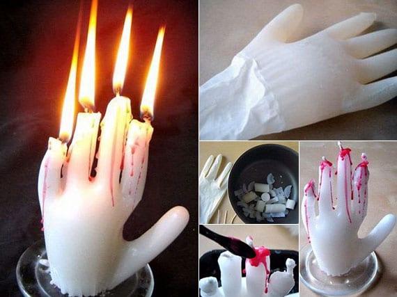 attraktive kerzen in form vom hand selber basteln zu halloween